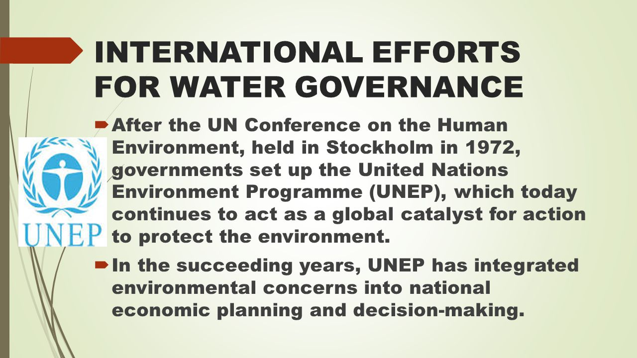 INTERNATIONAL EFFORTS FOR WATER GOVERNANCE