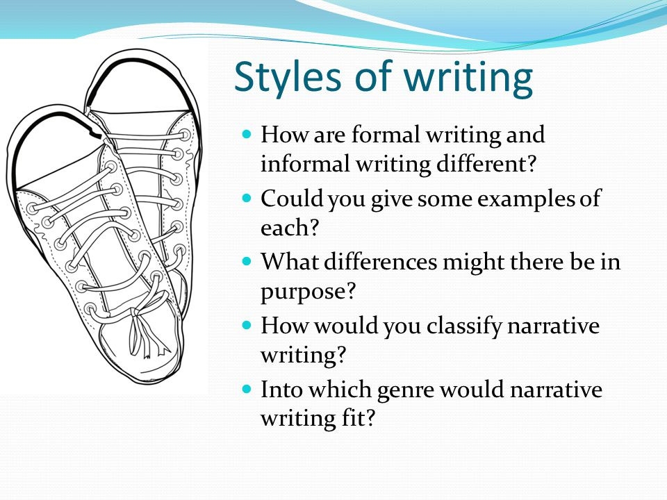 Styles of writing How are formal writing and informal writing different Could you give some examples of each