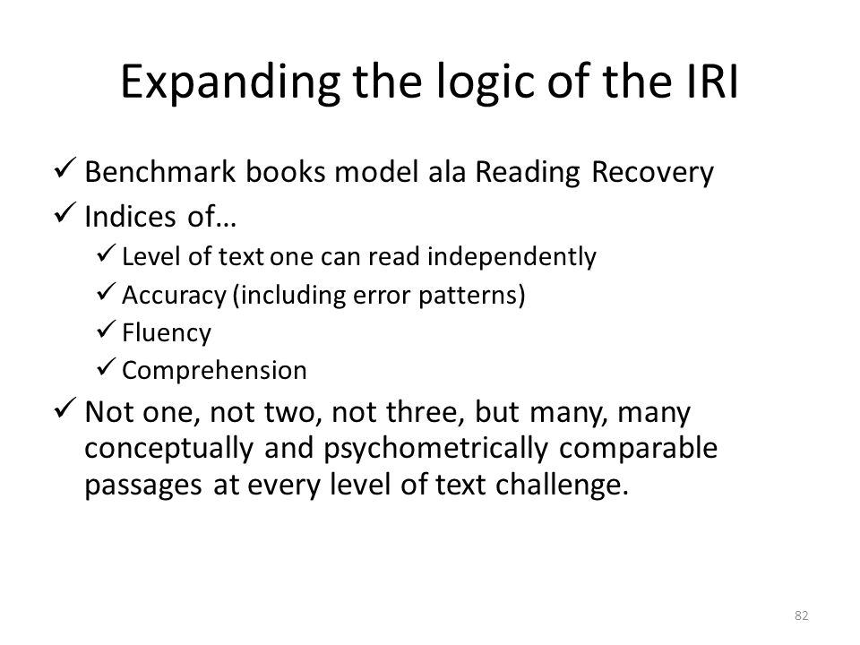 Expanding the logic of the IRI