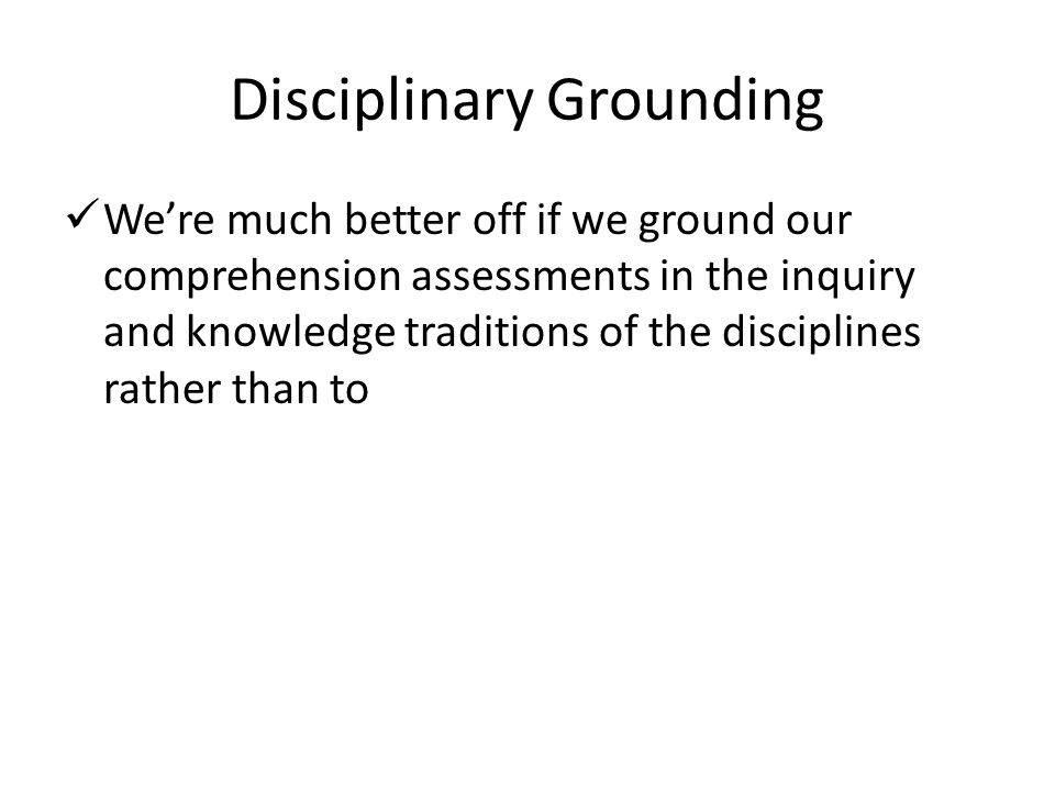 Disciplinary Grounding
