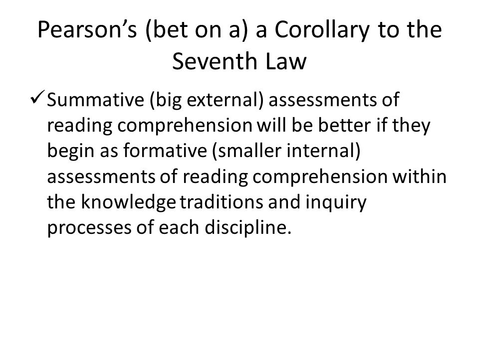 Pearson's (bet on a) a Corollary to the Seventh Law