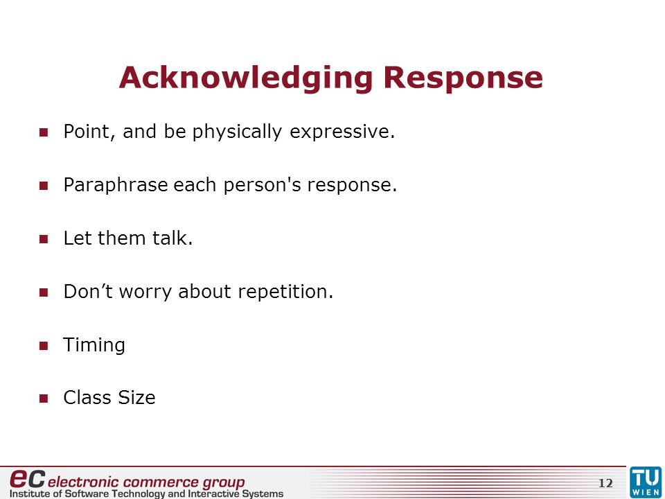 Acknowledging Response