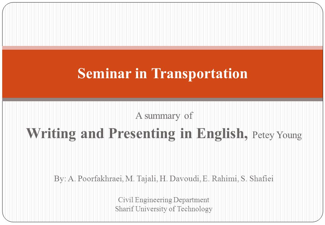 In This Presentation; Writing Research Articles for Publication