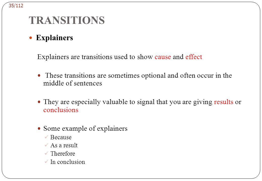 TRANSITIONS Guidelines for Editing Transitions