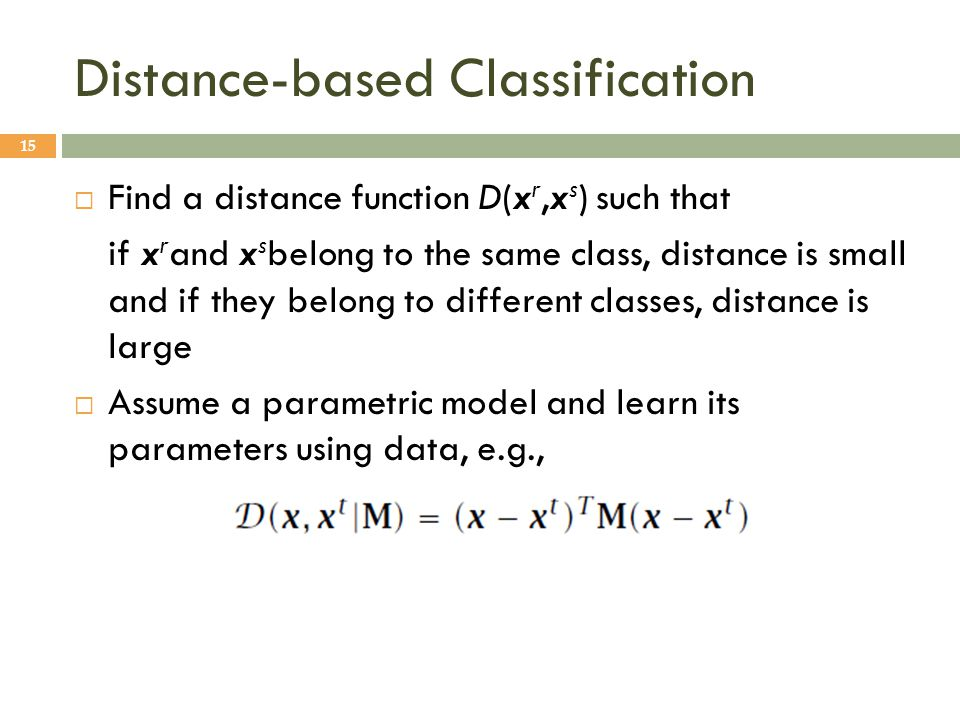 Distance-based Classification