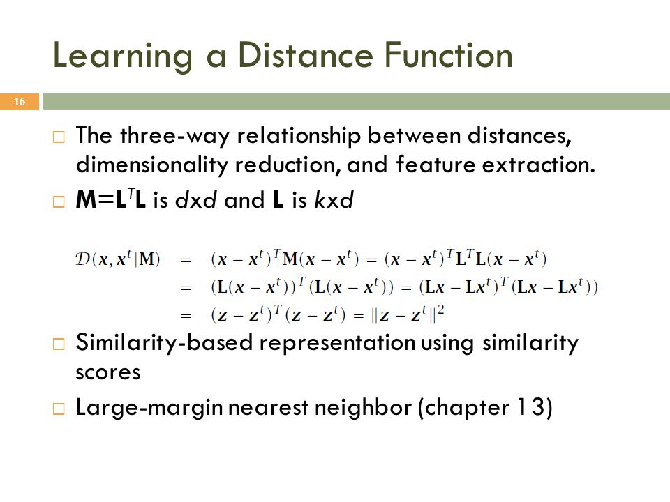 Learning a Distance Function