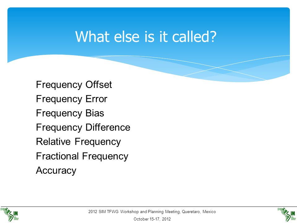 What else is it called Frequency Offset Frequency Error