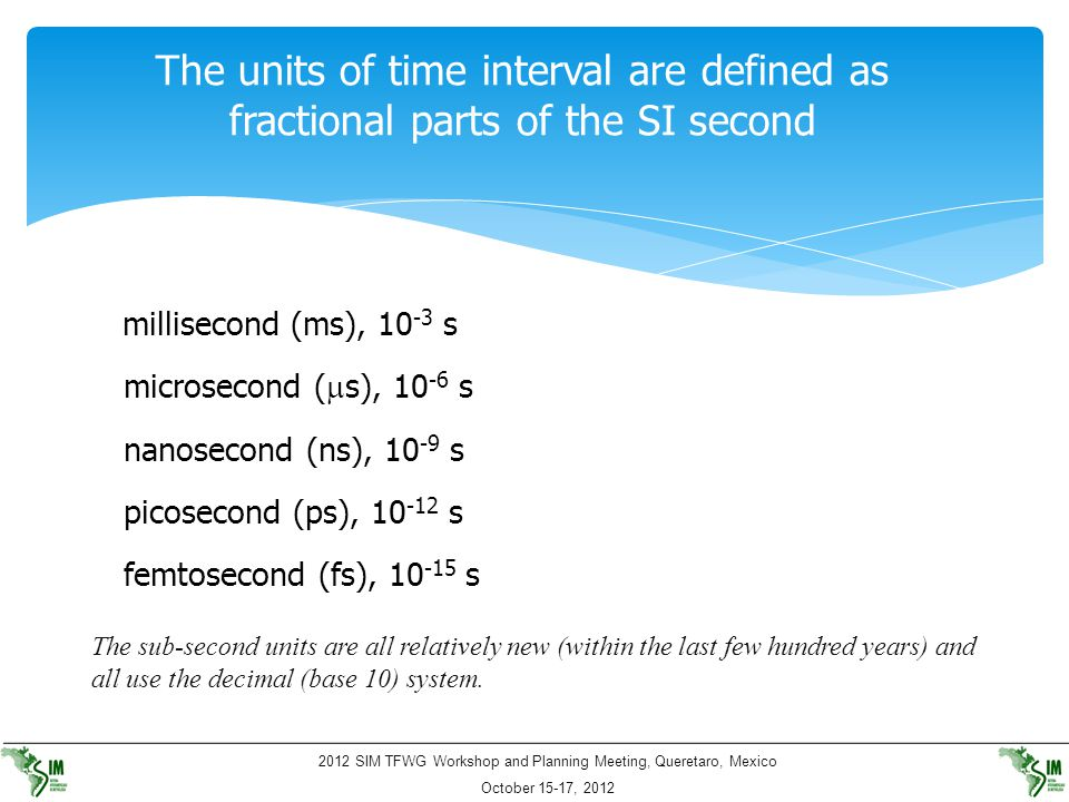 The units of time interval are defined as fractional parts of the SI second