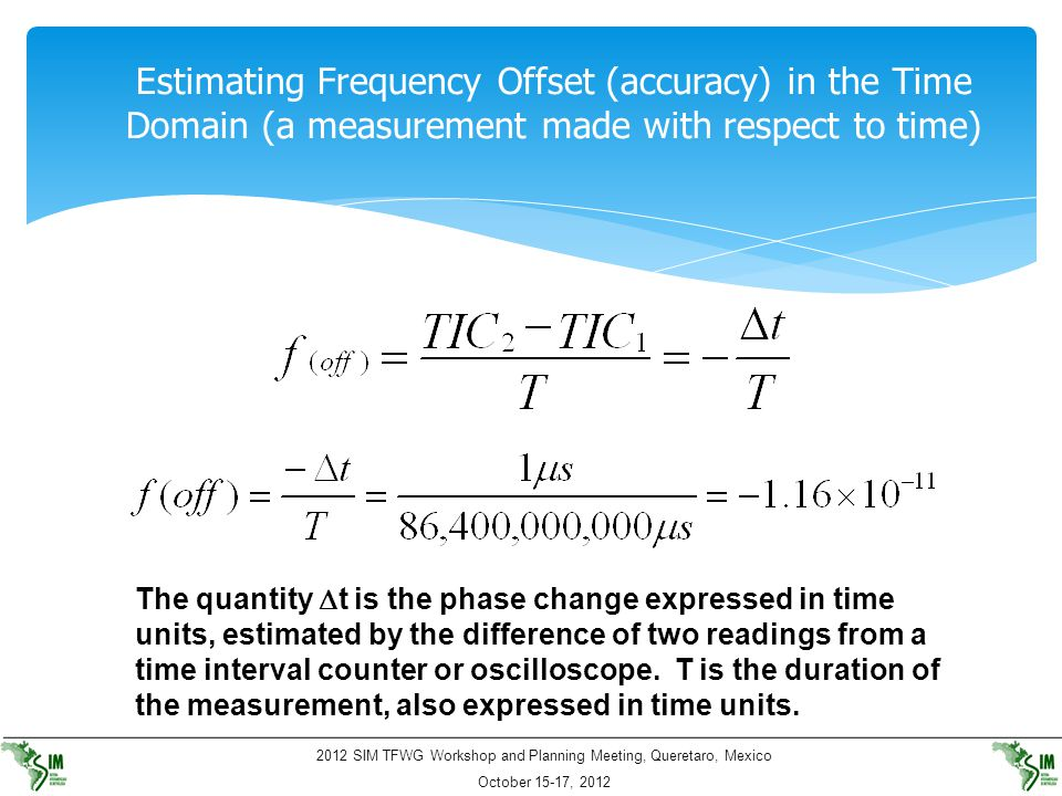 Estimating Frequency Offset (accuracy) in the Time Domain (a measurement made with respect to time)