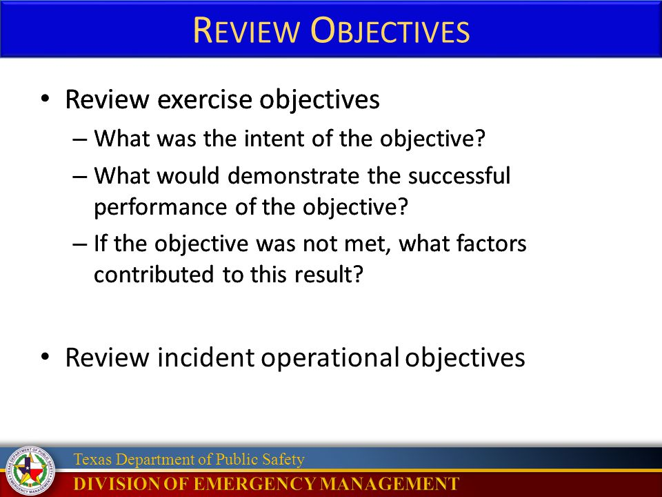 Review Objectives Review exercise objectives