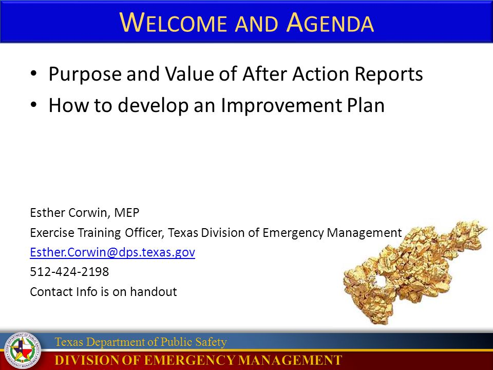 Welcome and Agenda Purpose and Value of After Action Reports