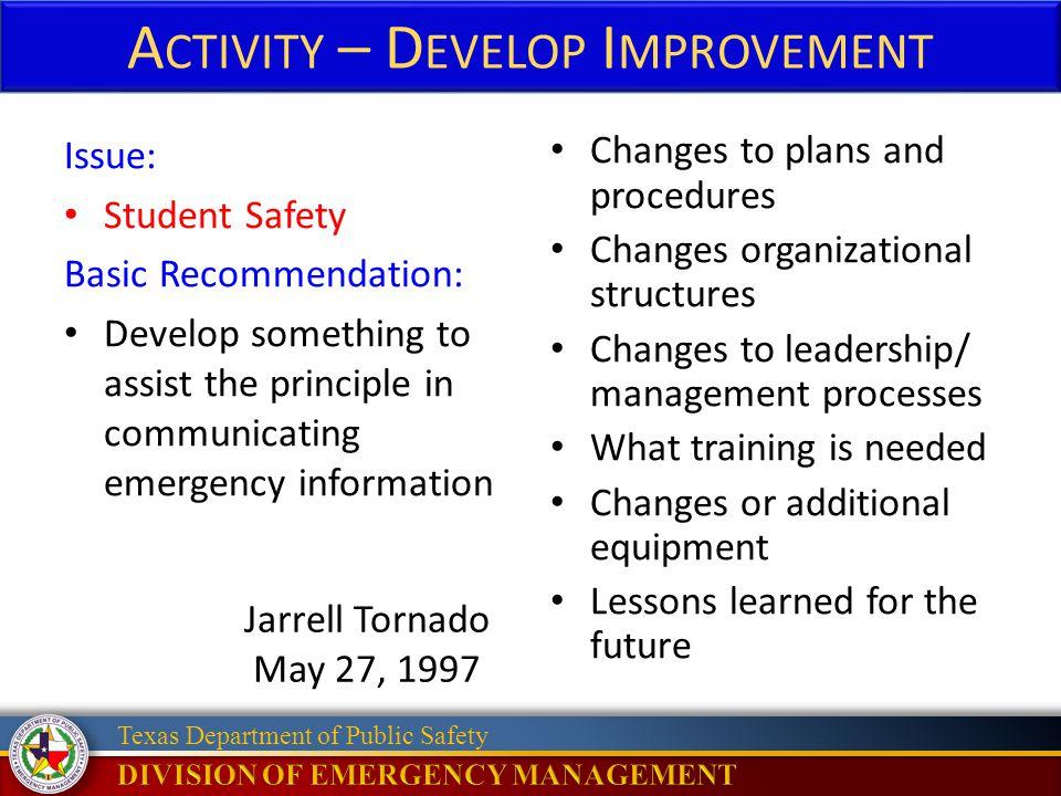 Activity – Develop Improvement
