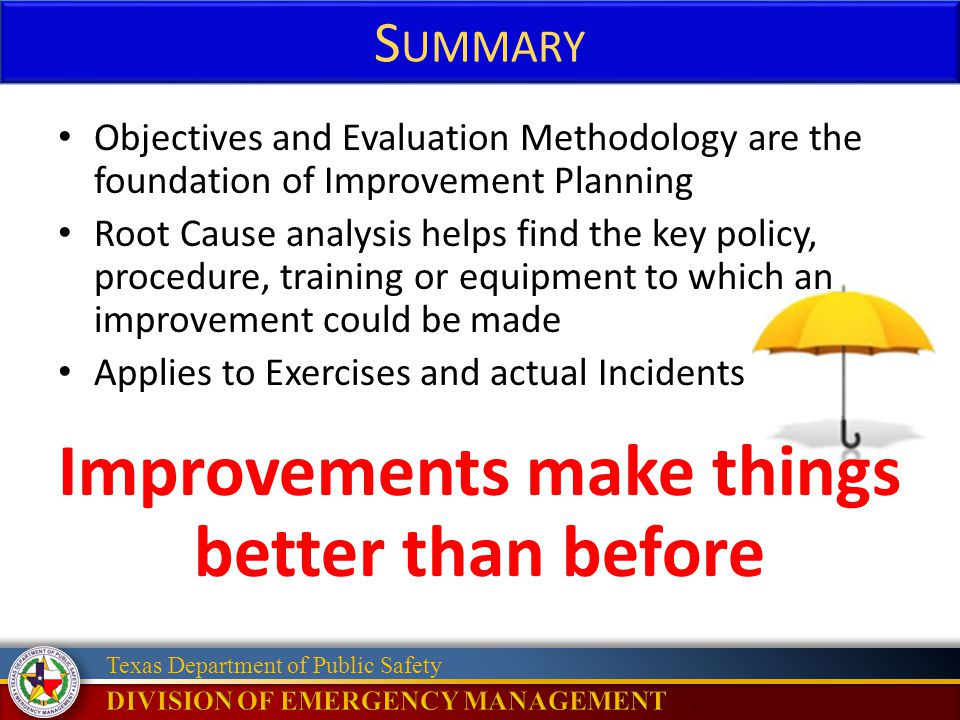 Improvements make things better than before