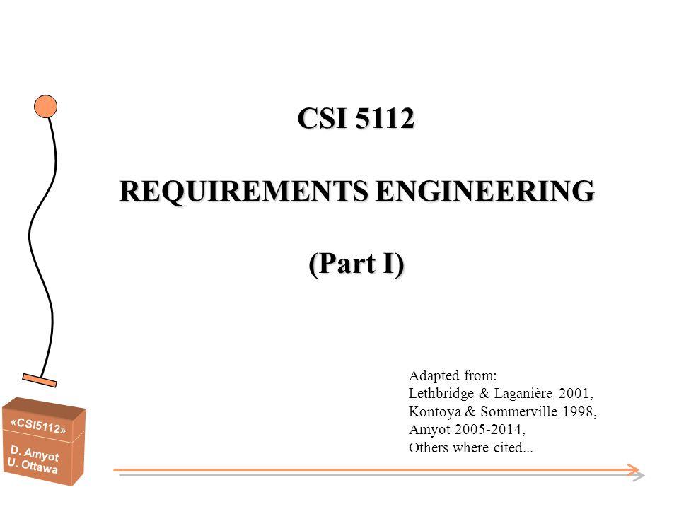CSI 5112 REQUIREMENTS ENGINEERING