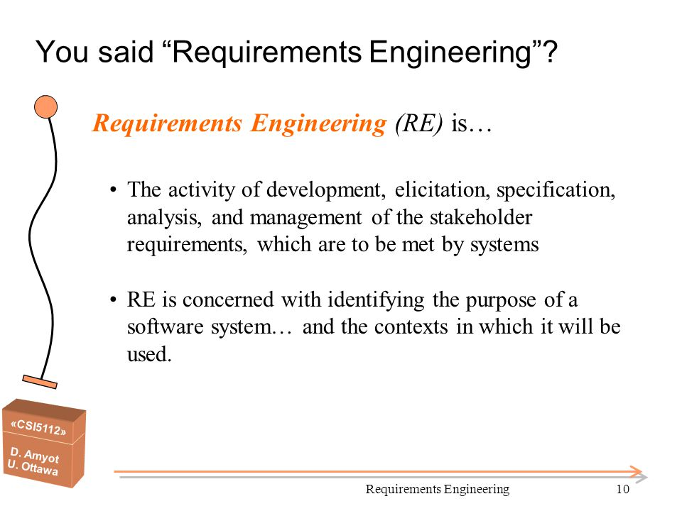 You said Requirements Engineering