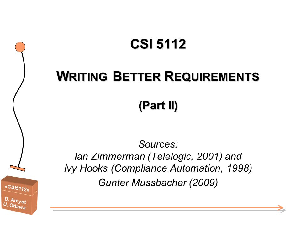 CSI 5112 WRITING BETTER REQUIREMENTS (Part II)