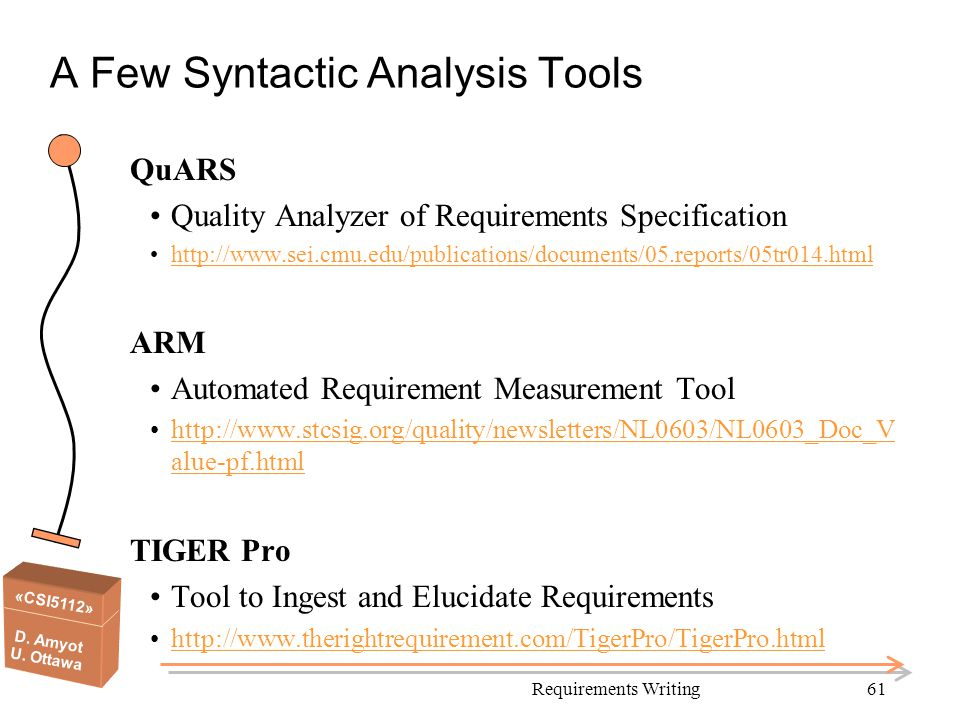 A Few Syntactic Analysis Tools