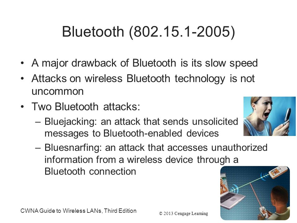Bluetooth (802.15.1-2005) A major drawback of Bluetooth is its slow speed. Attacks on wireless Bluetooth technology is not uncommon.
