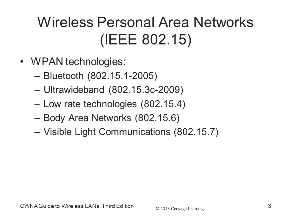 Wireless Personal Area Networks (IEEE 802.15)