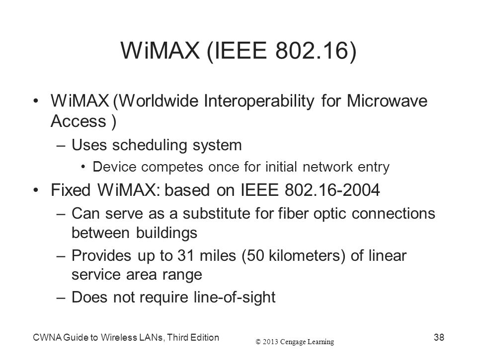 WiMAX (IEEE 802.16) WiMAX (Worldwide Interoperability for Microwave Access ) Uses scheduling system.