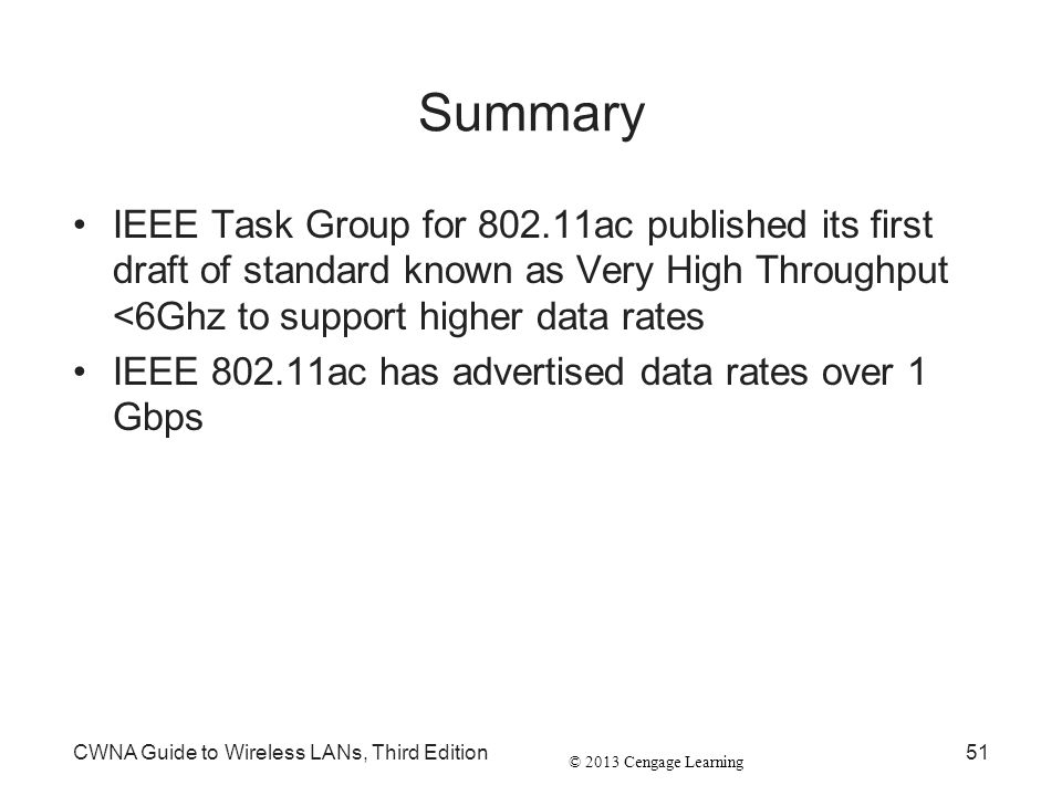 Summary IEEE Task Group for 802.11ac published its first draft of standard known as Very High Throughput <6Ghz to support higher data rates.