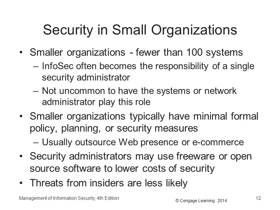 Security in Small Organizations