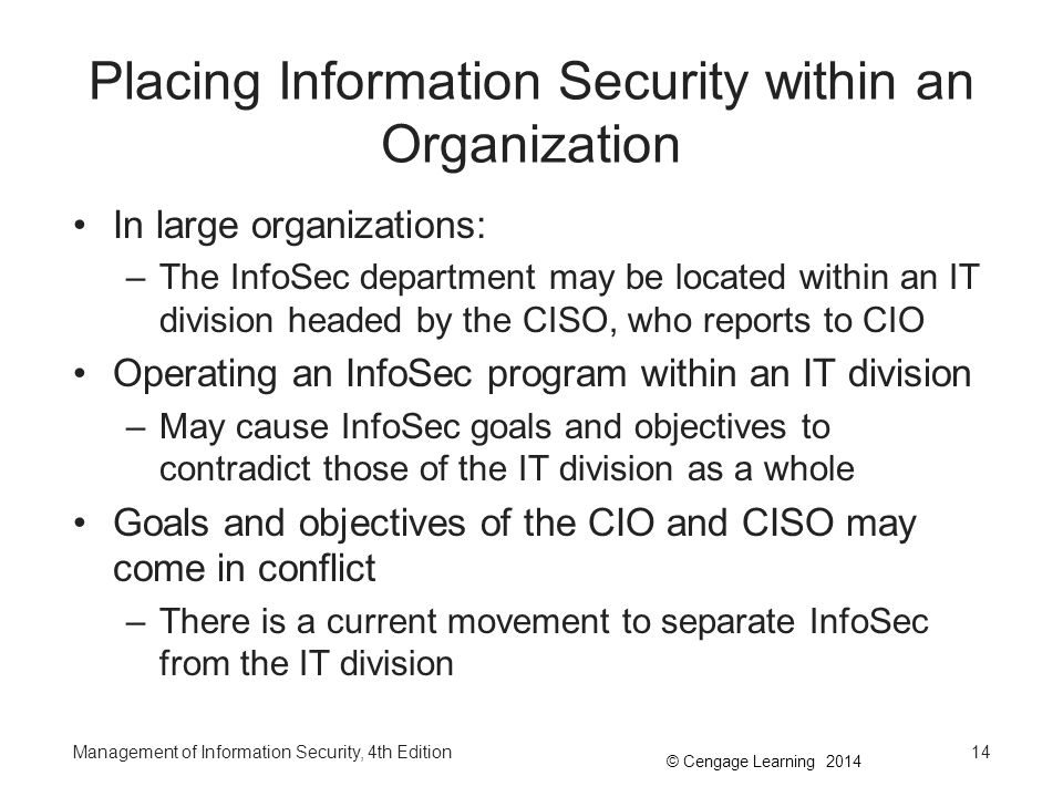 Placing Information Security within an Organization