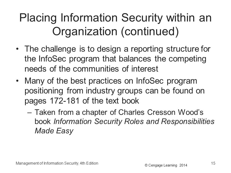 Placing Information Security within an Organization (continued)