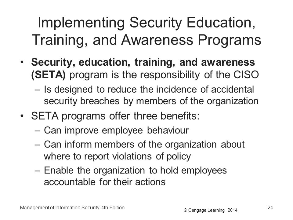Implementing Security Education, Training, and Awareness Programs