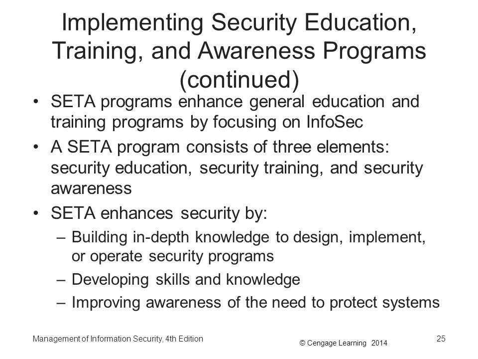 Implementing Security Education, Training, and Awareness Programs (continued)
