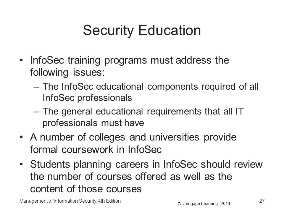 Security Education InfoSec training programs must address the following issues: