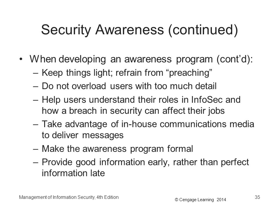 Security Awareness (continued)