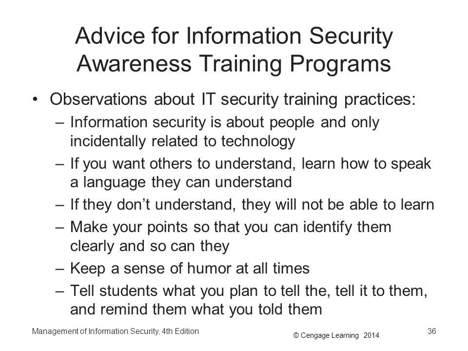 Advice for Information Security Awareness Training Programs
