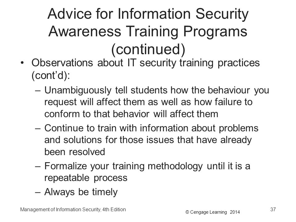 Advice for Information Security Awareness Training Programs (continued)