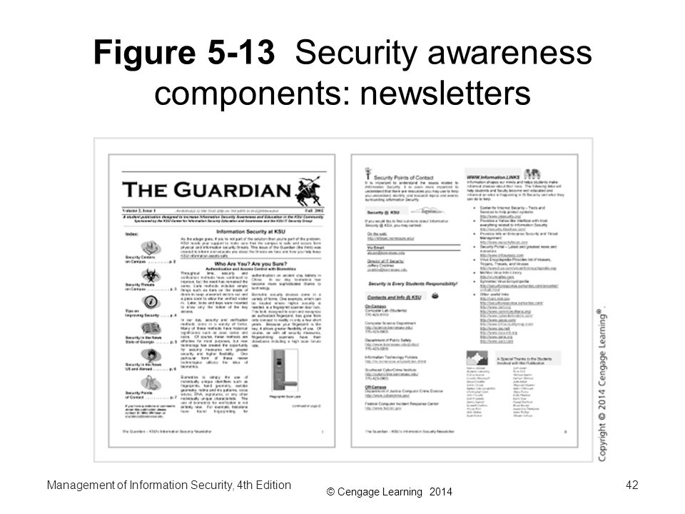 Figure 5-13 Security awareness components: newsletters