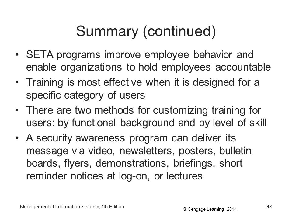 Summary (continued) SETA programs improve employee behavior and enable organizations to hold employees accountable.