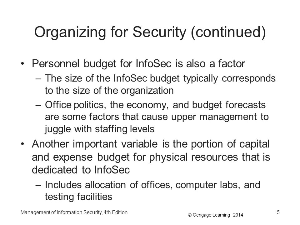 Organizing for Security (continued)