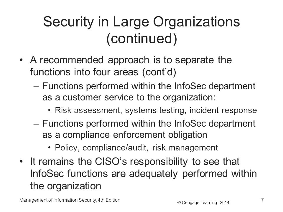 Security in Large Organizations (continued)