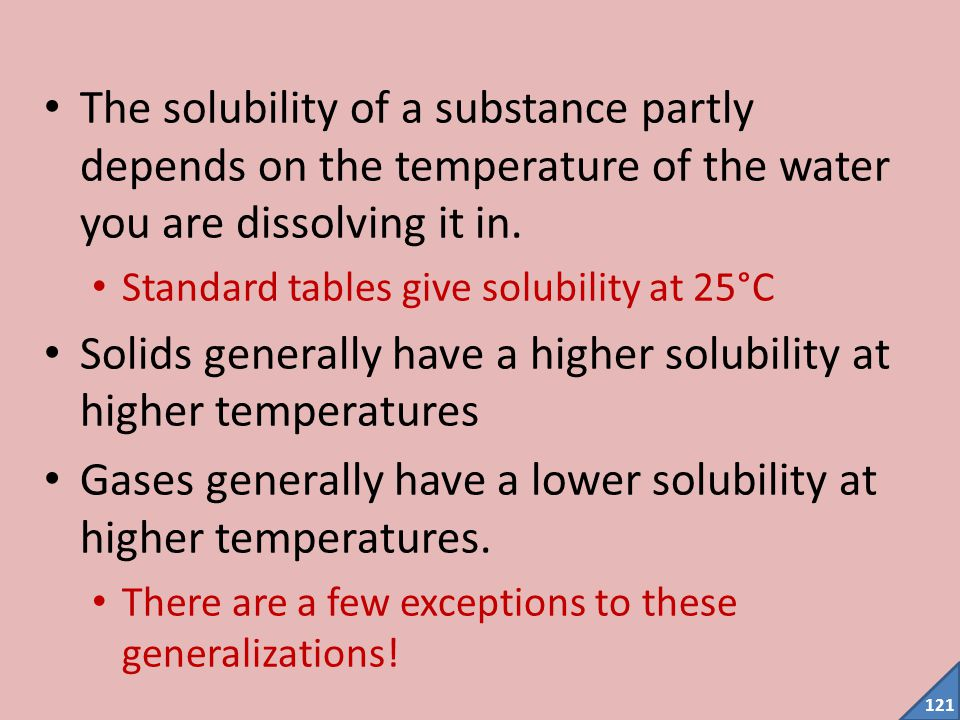 Solids generally have a higher solubility at higher temperatures