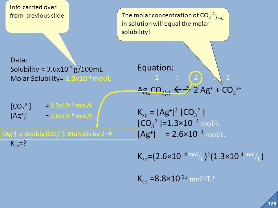 Ksp=(2.6×10- 4 mol/L)2(1.3×10-4 mol/L) Ksp =8.8×10-12 mol3/L3
