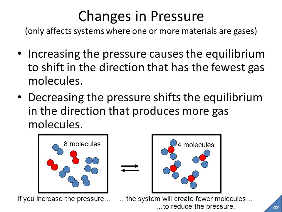 Changes in Pressure (only affects systems where one or more materials are gases)