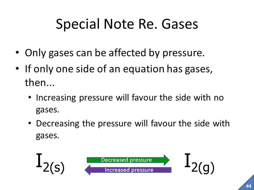 I2(s) I2(g) Special Note Re. Gases