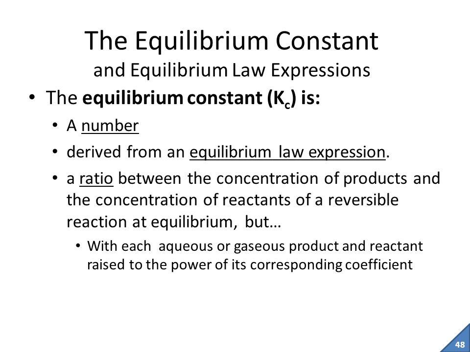 The Equilibrium Constant and Equilibrium Law Expressions