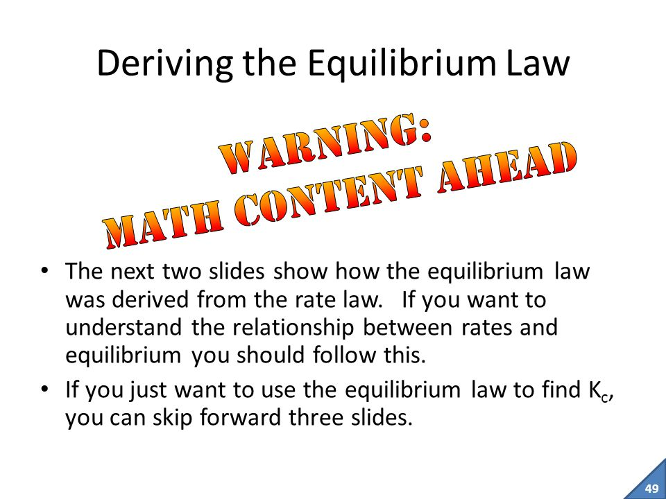 Deriving the Equilibrium Law