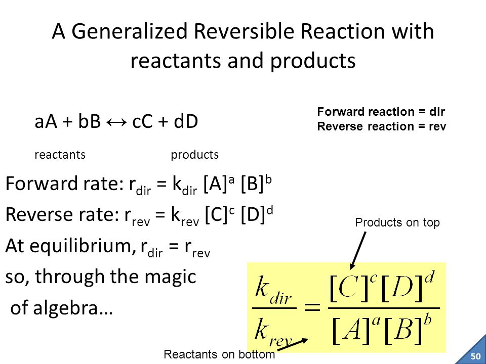 A Generalized Reversible Reaction with reactants and products
