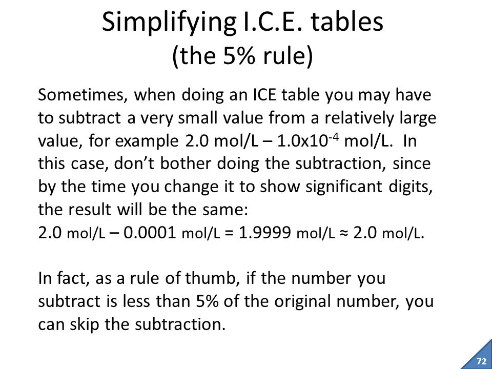Simplifying I.C.E. tables (the 5% rule)