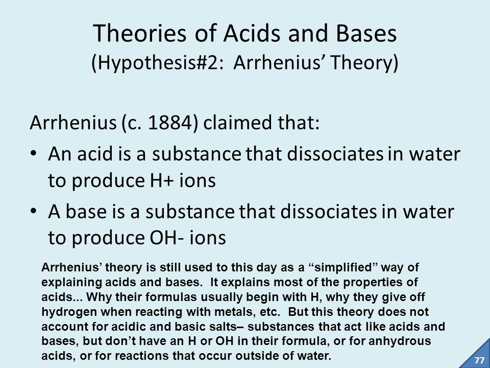 Theories of Acids and Bases (Hypothesis#2: Arrhenius' Theory)