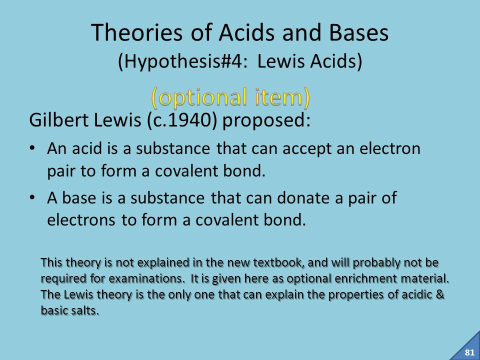 Theories of Acids and Bases (Hypothesis#4: Lewis Acids)