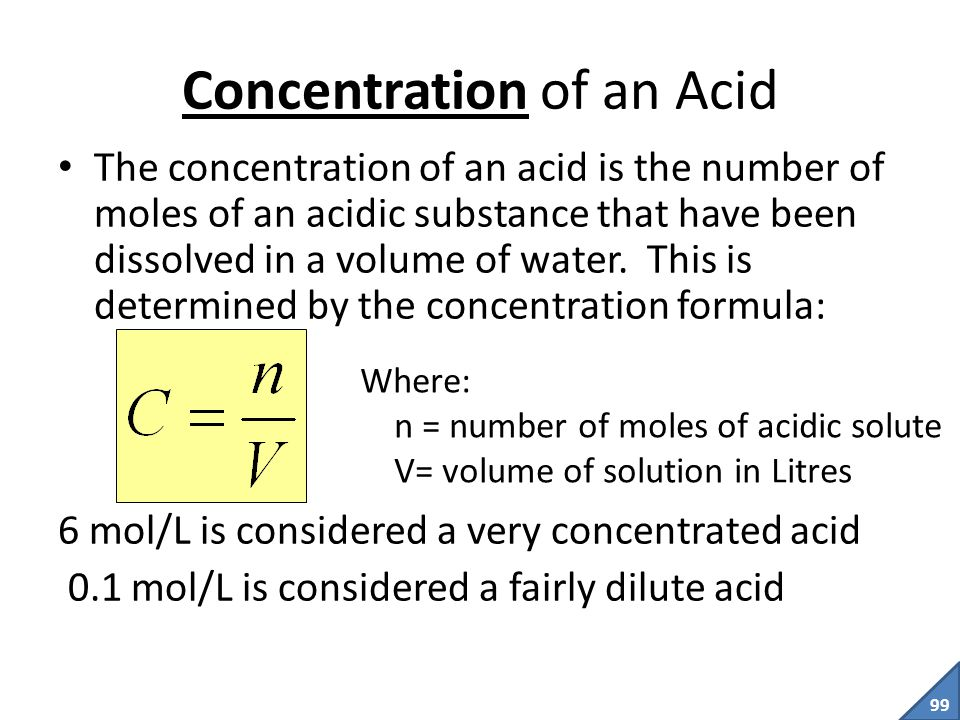 Concentration of an Acid