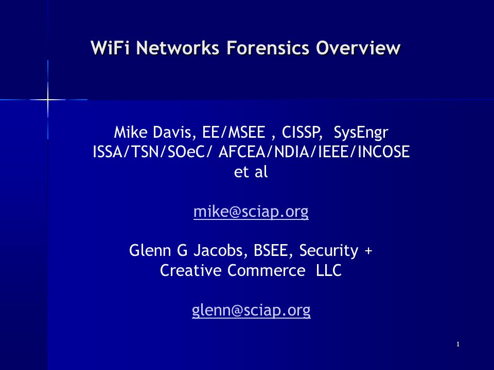 WiFi Networks Forensics Overview